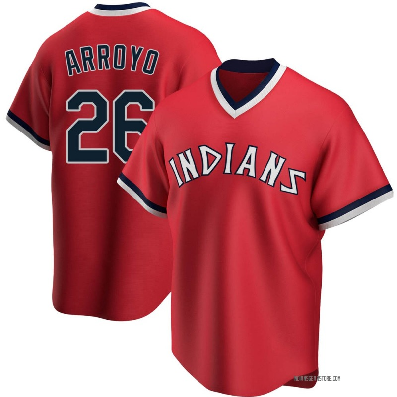 Men's Christian Arroyo Cleveland Indians Replica Red Road Cooperstown Collection Jersey