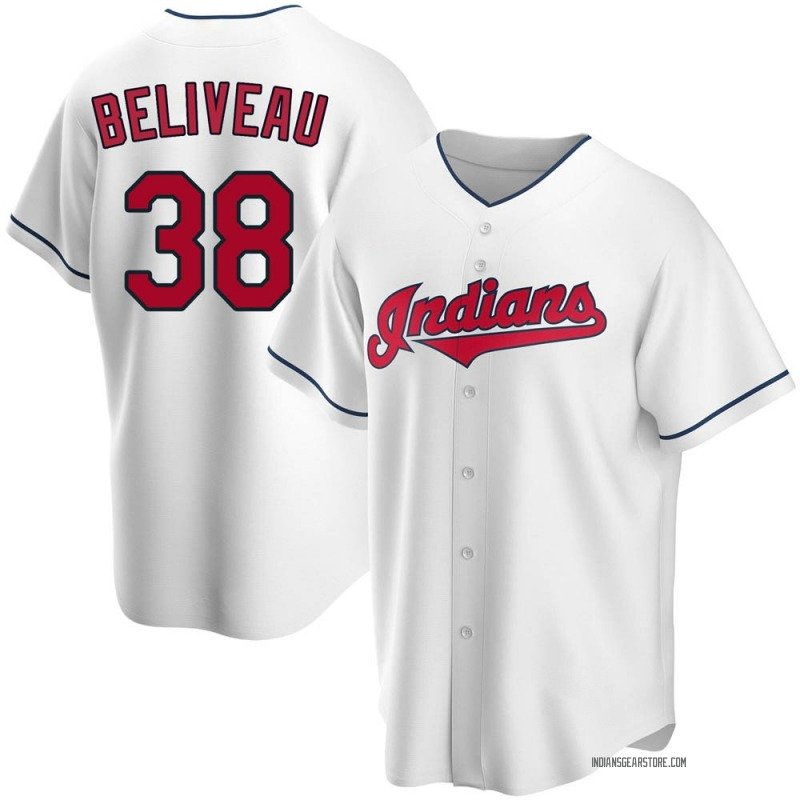 Men's Jeff Beliveau Cleveland Indians Replica White Home Jersey