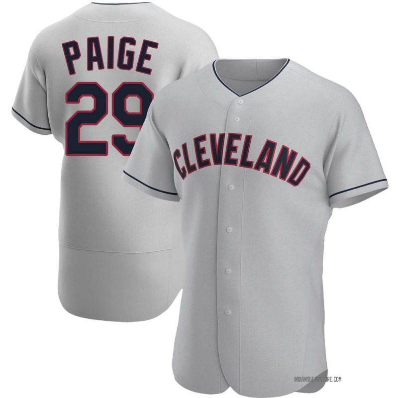 Men's Satchel Paige Cleveland Indians Authentic Gray Road Jersey