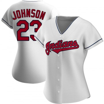 Women's Daniel Johnson Cleveland Indians Replica White Home Jersey