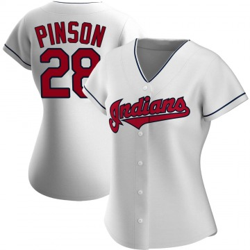 Women's Vada Pinson Cleveland Indians Authentic White Home Jersey