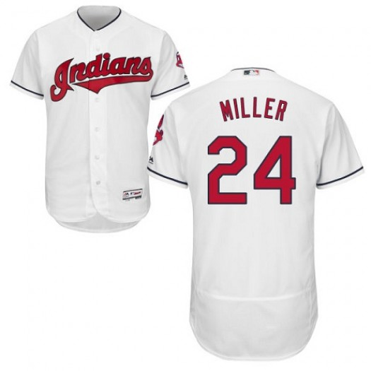 Men's Majestic Andrew Miller Cleveland Indians Player Authentic White Flexbase Collection Jersey